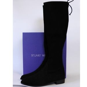 NEW STUART WEITZMAN Kneezie Black Suede Tall Boots